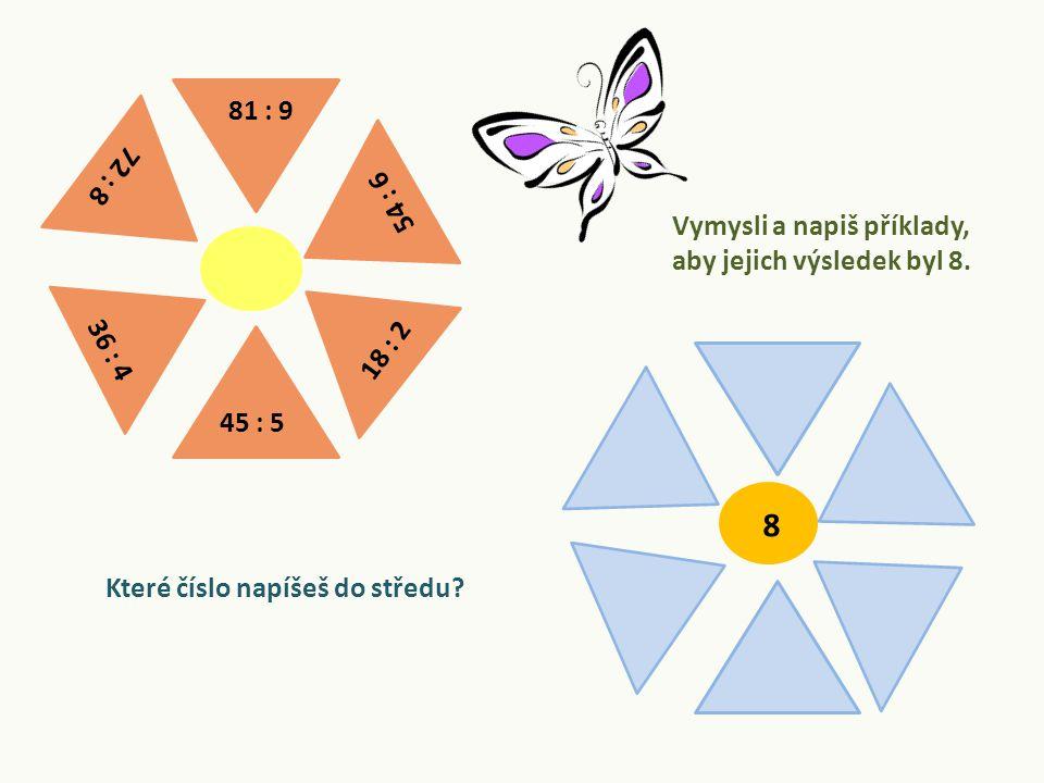 8 Vymysli a napiš příklady, aby jejich výsledek byl 8.