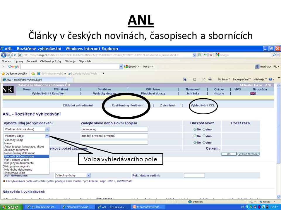 ANL Články v českých novinách, časopisech a sbornících Volba vyhledávacího pole