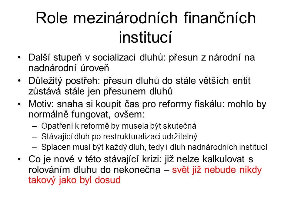 Role mezinárodních finančních institucí Další stupeň v socializaci dluhů: přesun z národní na nadnárodní úroveň Důležitý postřeh: přesun dluhů do stále větších entit zůstává stále jen přesunem dluhů Motiv: snaha si koupit čas pro reformy fiskálu: mohlo by normálně fungovat, ovšem: –Opatření k reformě by musela být skutečná –Stávající dluh po restrukturalizaci udržitelný –Splacen musí být každý dluh, tedy i dluh nadnárodních institucí Co je nové v této stávající krizi: již nelze kalkulovat s rolováním dluhu do nekonečna – svět již nebude nikdy takový jako byl dosud