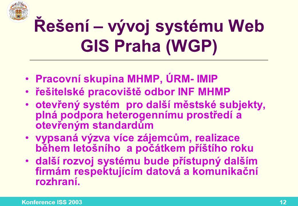 Konference ISS 200312 Řešení – vývoj systému Web GIS Praha (WGP) Pracovní skupina MHMP, ÚRM- IMIP řešitelské pracoviště odbor INF MHMP otevřený systém pro další městské subjekty, plná podpora heterogennímu prostředí a otevřeným standardům vypsaná výzva více zájemcům, realizace během letošního a počátkem příštího roku další rozvoj systému bude přístupný dalším firmám respektujícím datová a komunikační rozhraní.