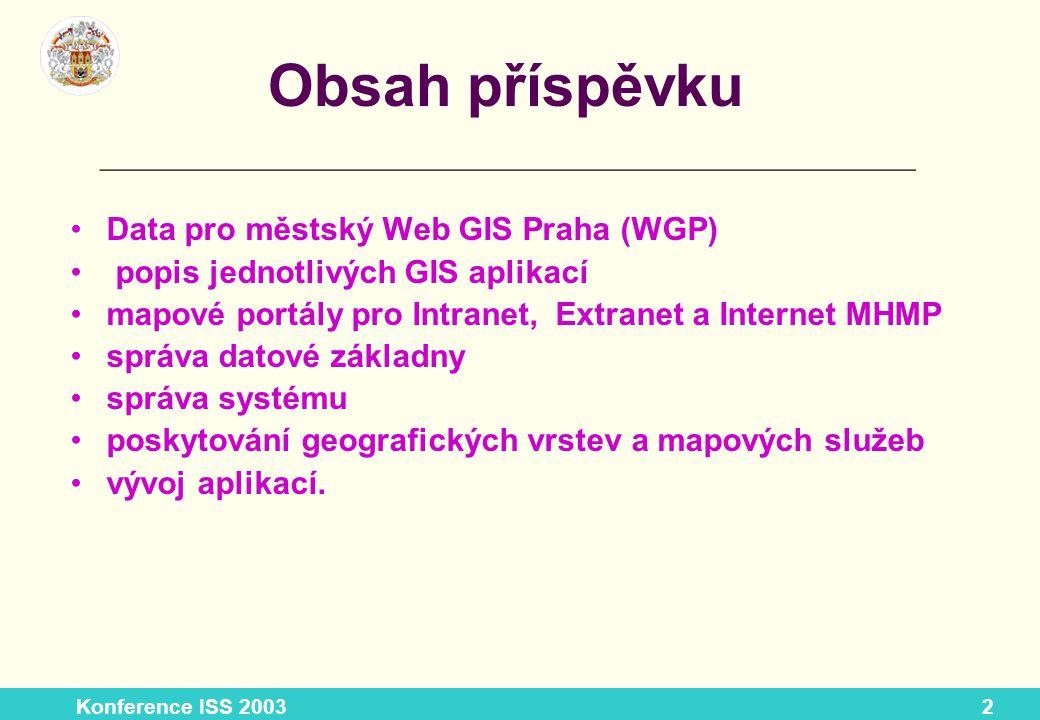 Konference ISS 20033 Současný stav MURIS - (ve verzích pro intranet MHMP a pro veřejný Internet) adresní systém (Internet) atlas životního prostředí povodeň 2002 cyklotrasy.