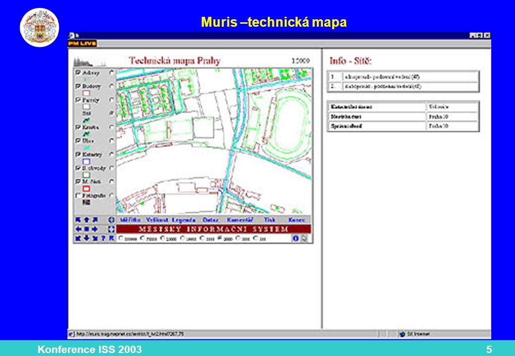 Konference ISS 200316 Datová základna klady mapových listů hranice Prahy, městských obvodů, správních obvodů, městských částí, katastrálních území, urbanistických obvodů adresní body budovy bloková mapa parcelní, základní, generalizovaná parcely právní stav a skutečný stav ____________________________________________________