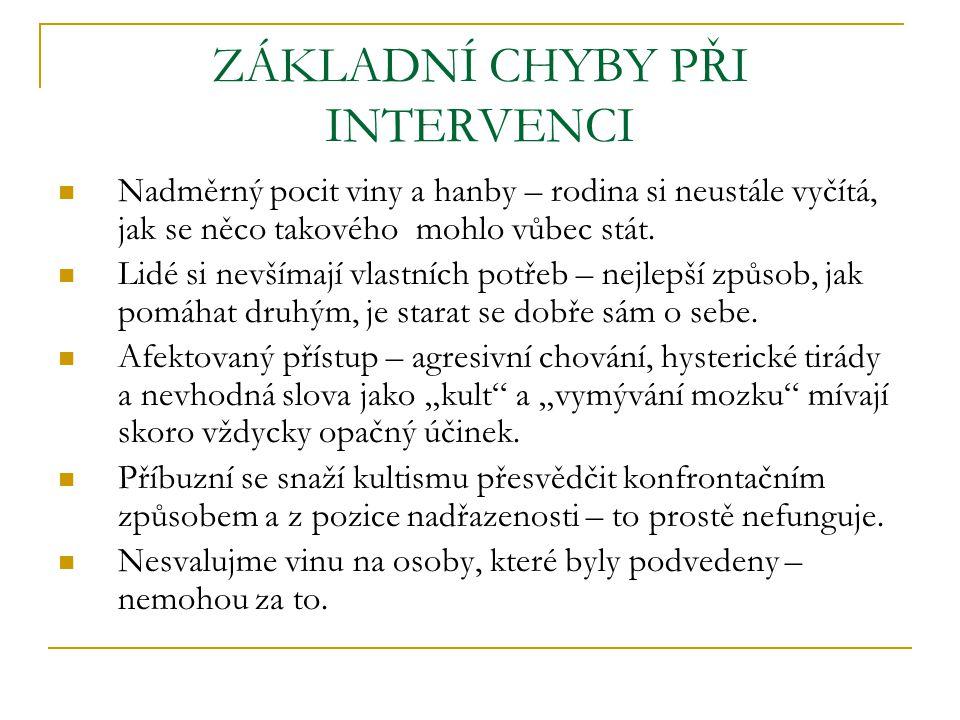 ÚSPĚŠNÁ INTERVENCE respektovat osobní cíle a zájmy nesnažit se to zvládnout sám vytvořit si plán vztah a důvěra informace povzbuzení a perspektiva