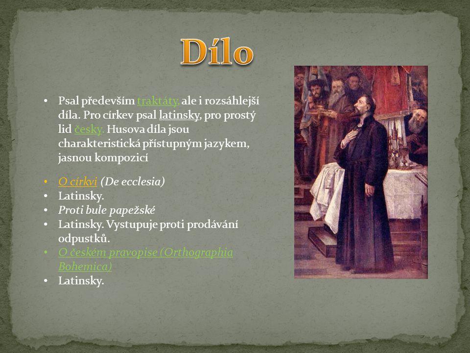 Psal především traktáty, ale i rozsáhlejší díla. Pro církev psal latinsky, pro prostý lid česky. Husova díla jsou charakteristická přístupným jazykem,