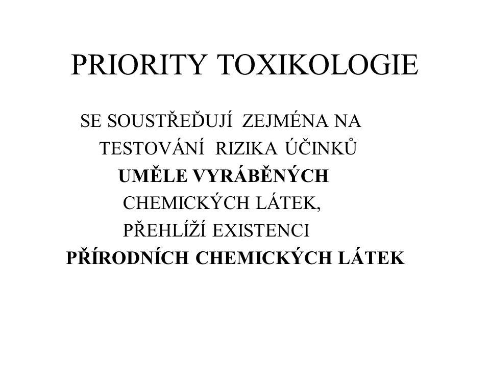 PRIORITY TOXIKOLOGIE SE SOUSTŘEĎUJÍ ZEJMÉNA NA TESTOVÁNÍ RIZIKA ÚČINKŮ UMĚLE VYRÁBĚNÝCH CHEMICKÝCH LÁTEK, PŘEHLÍŽÍ EXISTENCI PŘÍRODNÍCH CHEMICKÝCH LÁT