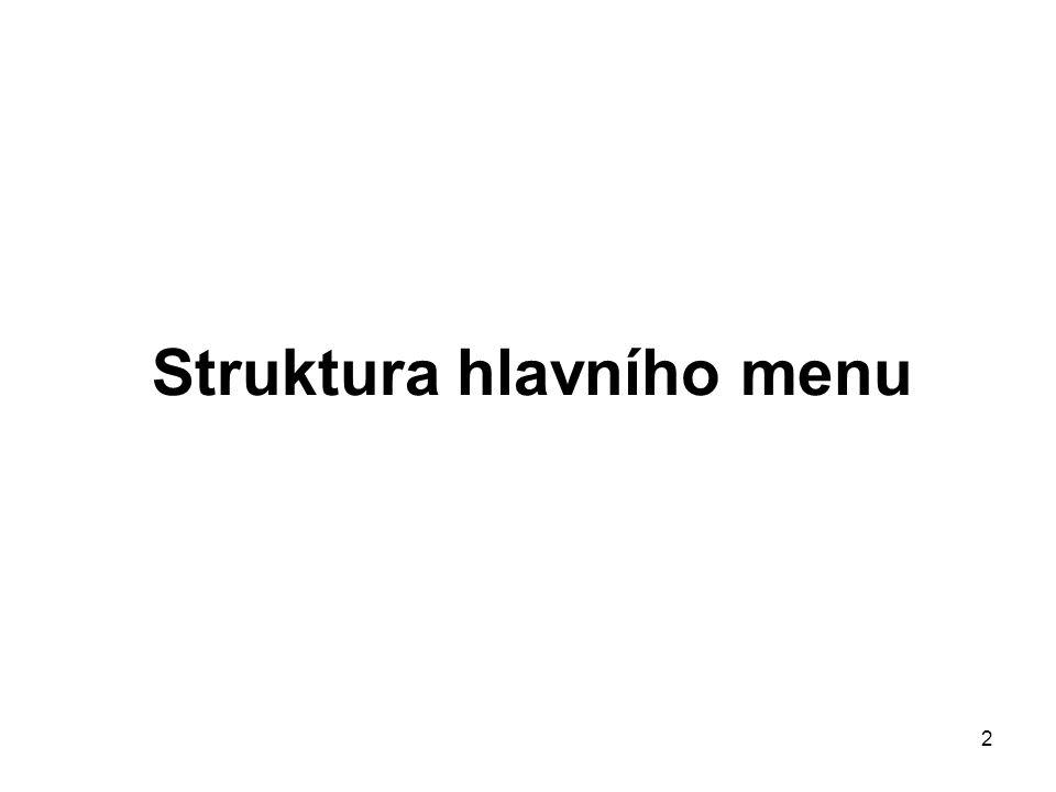 2 Struktura hlavního menu