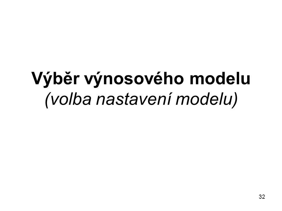 32 Výběr výnosového modelu (volba nastavení modelu)