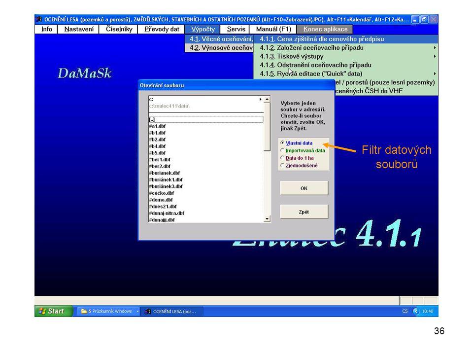 36 Filtr datových souborů