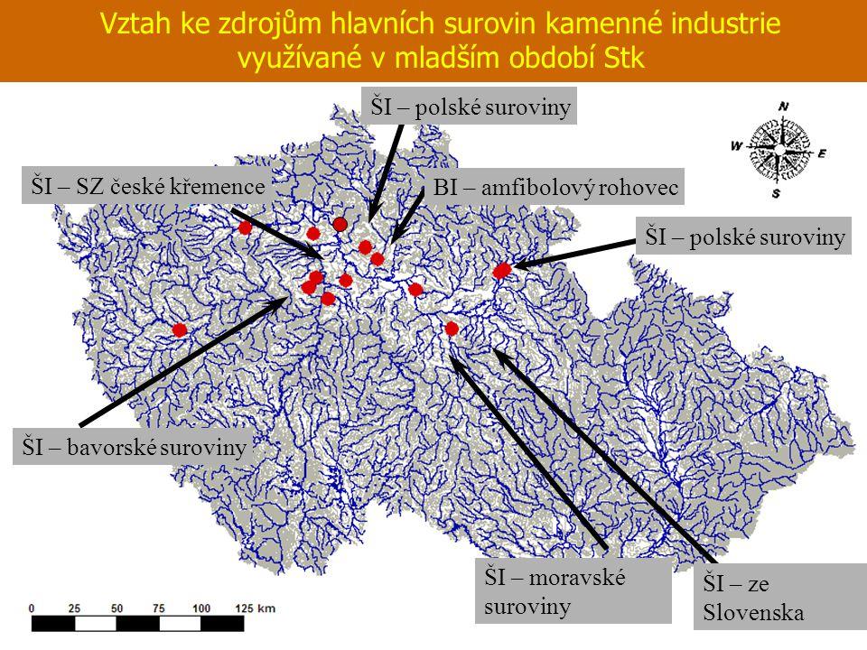 Vztah ke zdrojům hlavních surovin kamenné industrie využívané v mladším období Stk BI – amfibolový rohovec ŠI – polské suroviny ŠI – SZ české křemence