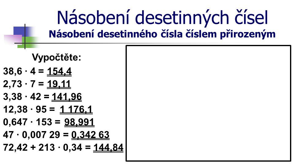 Násobení desetinných čísel Násobení desetinného čísla číslem přirozeným Vypočtěte: 38,6 · 4 = 2,73 · 7 = 3,38 · 42 = 12,38 · 95 = 0,647 · 153 = 47 · 0
