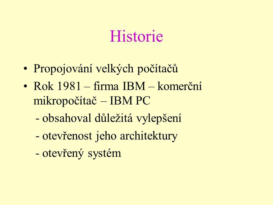 Historie Propojování velkých počítačů Rok 1981 – firma IBM – komerční mikropočítač – IBM PC - obsahoval důležitá vylepšení - otevřenost jeho architektury - otevřený systém