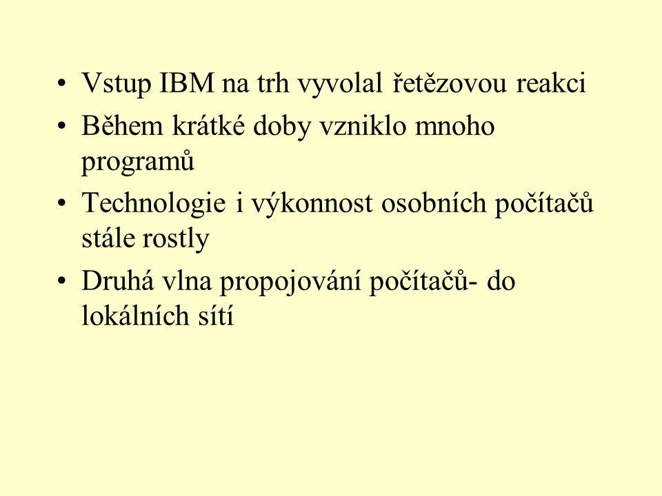 Vstup IBM na trh vyvolal řetězovou reakci Během krátké doby vzniklo mnoho programů Technologie i výkonnost osobních počítačů stále rostly Druhá vlna propojování počítačů- do lokálních sítí