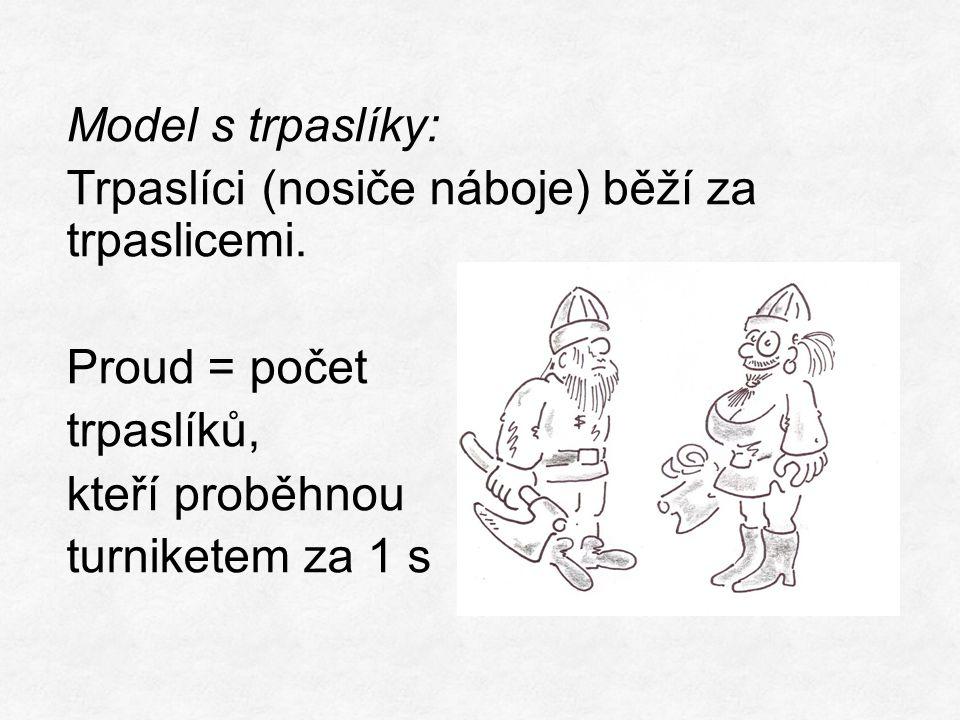 Model s trpaslíky: Trpaslíci (nosiče náboje) běží za trpaslicemi.