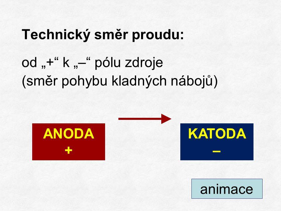 """Technický směr proudu: od """"+ k """"– pólu zdroje (směr pohybu kladných nábojů) +++ ANODA + KATODA – animace"""