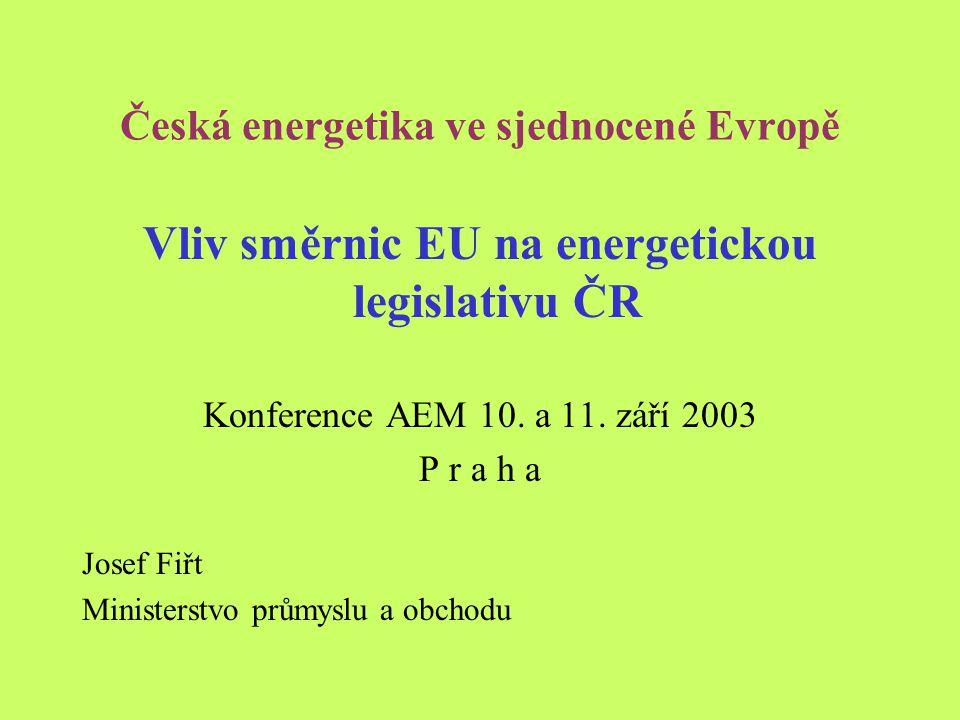 Česká energetika ve sjednocené Evropě Vliv směrnic EU na energetickou legislativu ČR Konference AEM 10.