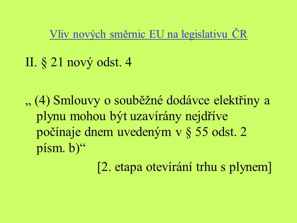 Vliv nových směrnic EU na legislativu ČR II. § 21 nový odst.