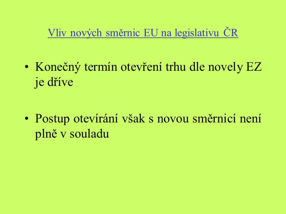 Vliv nových směrnic EU na legislativu ČR Konečný termín otevření trhu dle novely EZ je dříve Postup otevírání však s novou směrnicí není plně v souladu