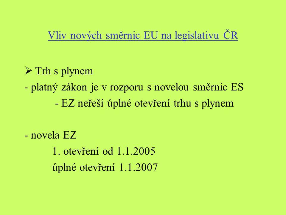 Vliv nových směrnic EU na legislativu ČR  Trh s plynem - platný zákon je v rozporu s novelou směrnic ES - EZ neřeší úplné otevření trhu s plynem - novela EZ 1.
