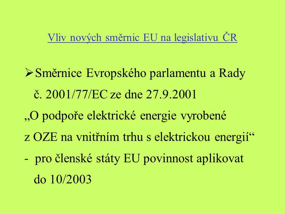Vliv nových směrnic EU na legislativu ČR  Směrnice Evropského parlamentu a Rady č.