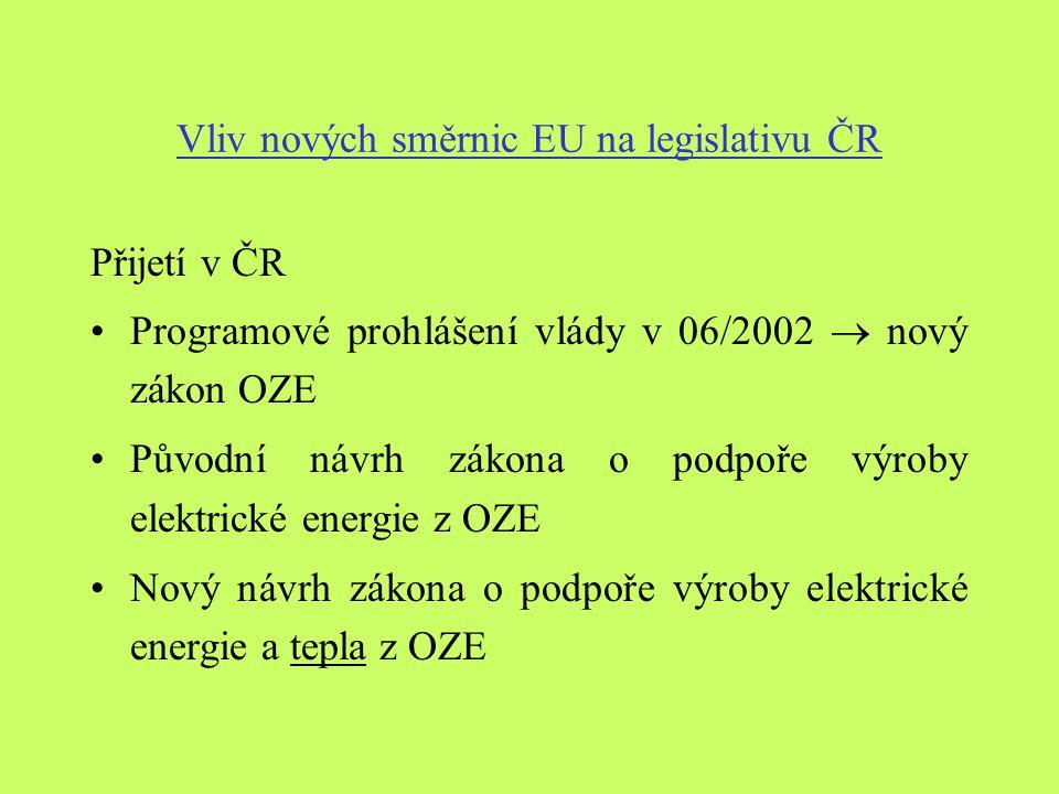Vliv nových směrnic EU na legislativu ČR Přijetí v ČR Programové prohlášení vlády v 06/2002  nový zákon OZE Původní návrh zákona o podpoře výroby elektrické energie z OZE Nový návrh zákona o podpoře výroby elektrické energie a tepla z OZE