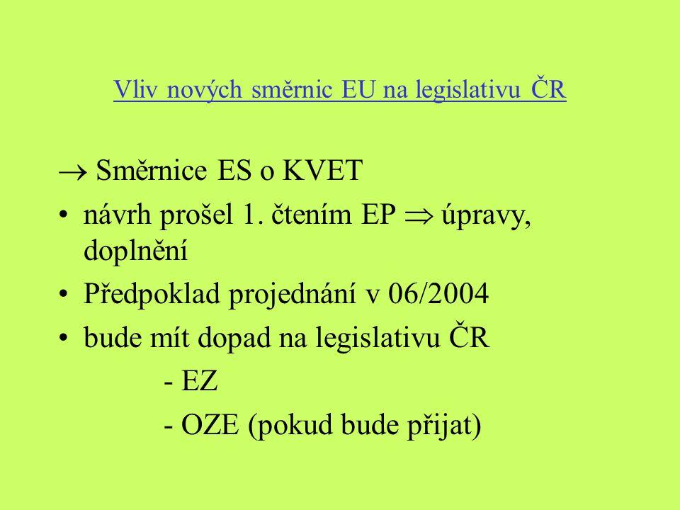 Vliv nových směrnic EU na legislativu ČR  Směrnice ES o KVET návrh prošel 1.