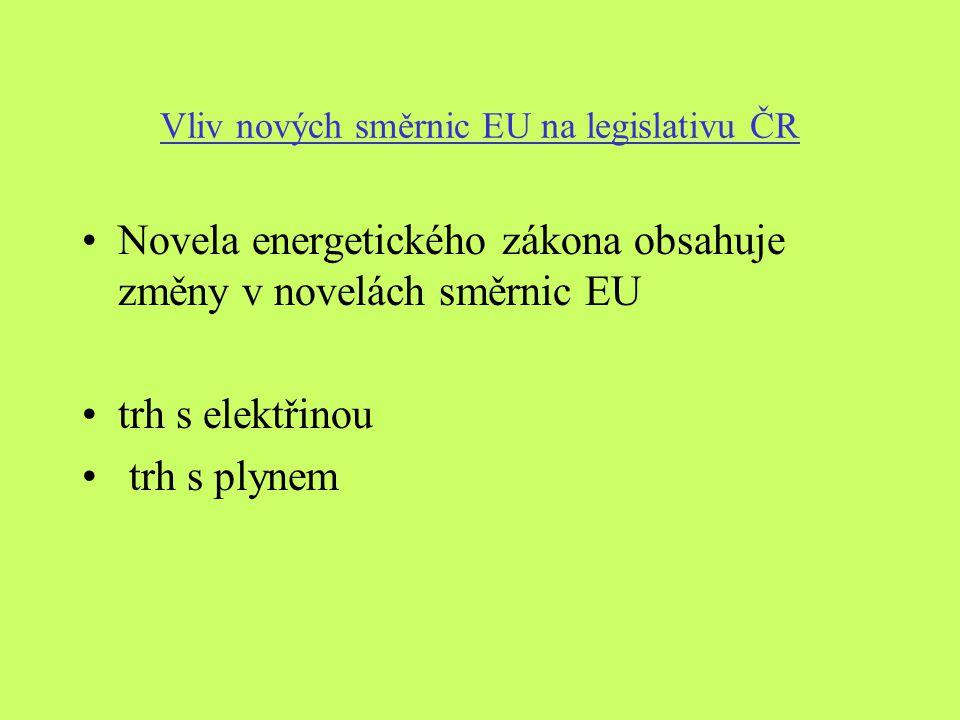 Vliv nových směrnic EU na legislativu ČR Novela energetického zákona obsahuje změny v novelách směrnic EU trh s elektřinou trh s plynem