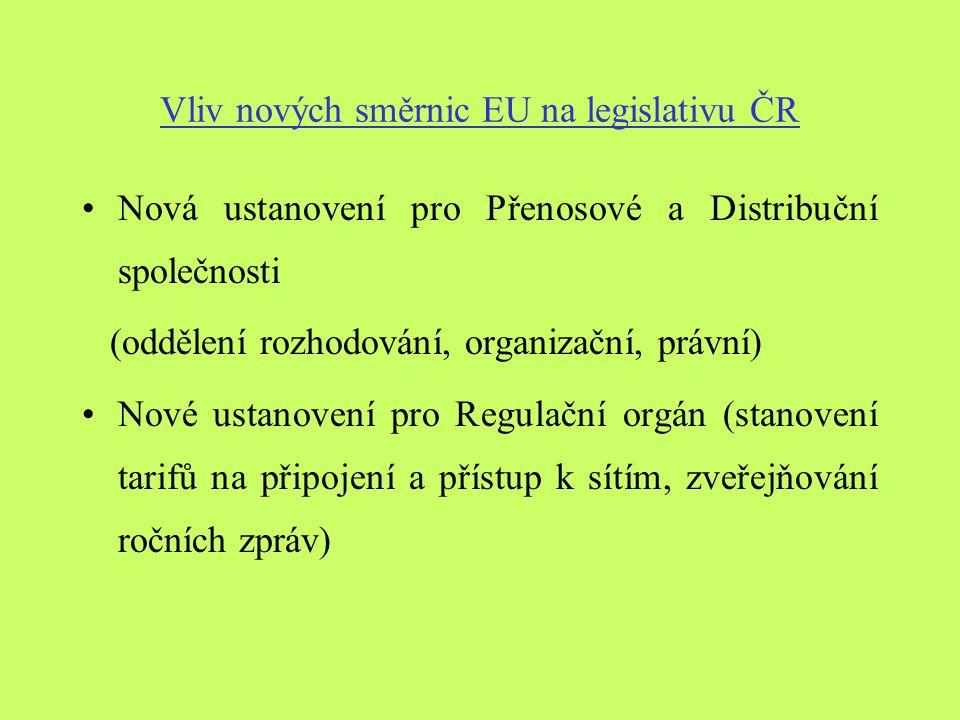 Vliv nových směrnic EU na legislativu ČR Nová ustanovení pro Přenosové a Distribuční společnosti (oddělení rozhodování, organizační, právní) Nové ustanovení pro Regulační orgán (stanovení tarifů na připojení a přístup k sítím, zveřejňování ročních zpráv)