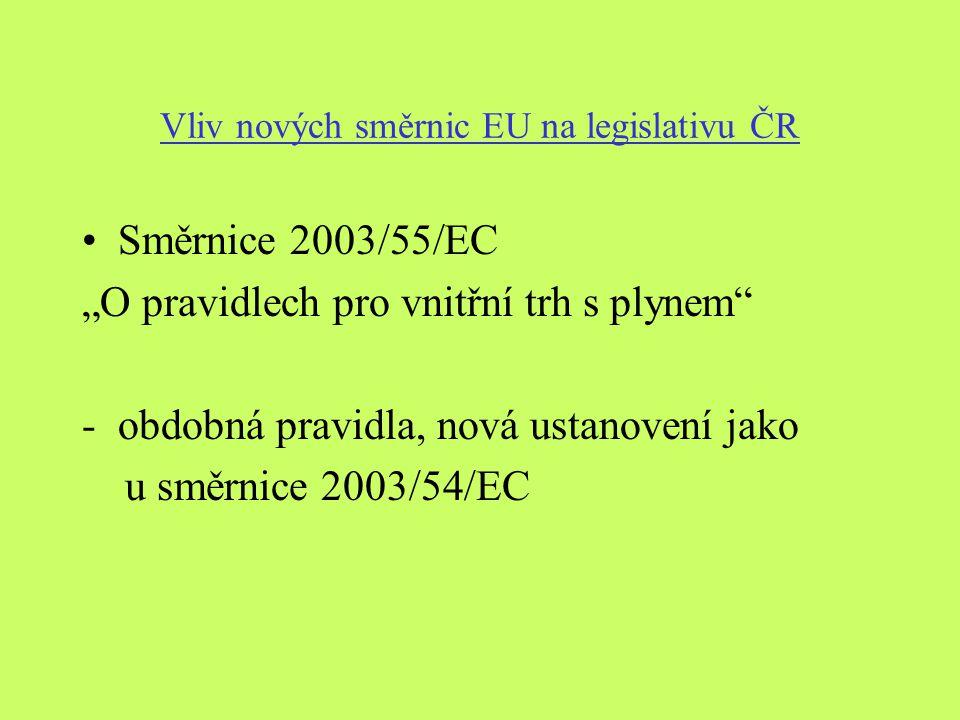 """Vliv nových směrnic EU na legislativu ČR Směrnice 2003/55/EC """"O pravidlech pro vnitřní trh s plynem -obdobná pravidla, nová ustanovení jako u směrnice 2003/54/EC"""