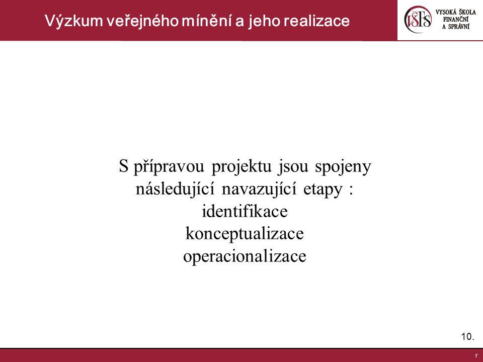 10. r Výzkum veřejného mínění a jeho realizace S přípravou projektu jsou spojeny následující navazující etapy : identifikace konceptualizace operacion