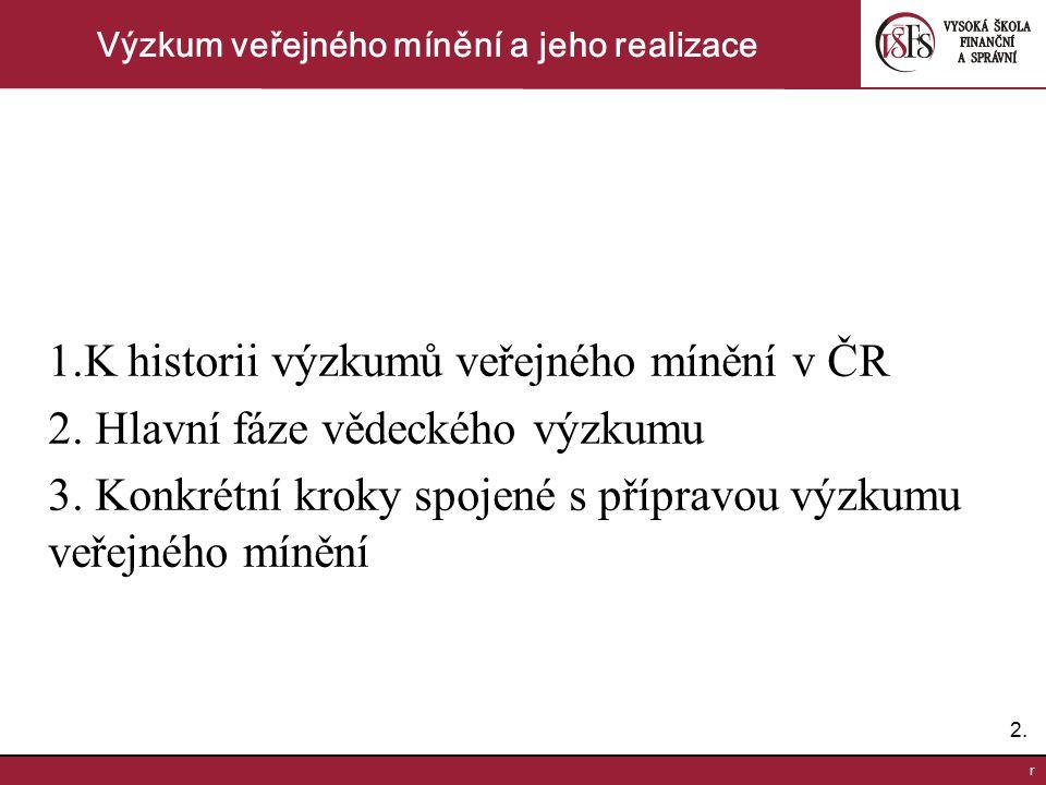2.2. r Výzkum veřejného mínění a jeho realizace 1.K historii výzkumů veřejného mínění v ČR 2. Hlavní fáze vědeckého výzkumu 3. Konkrétní kroky spojené