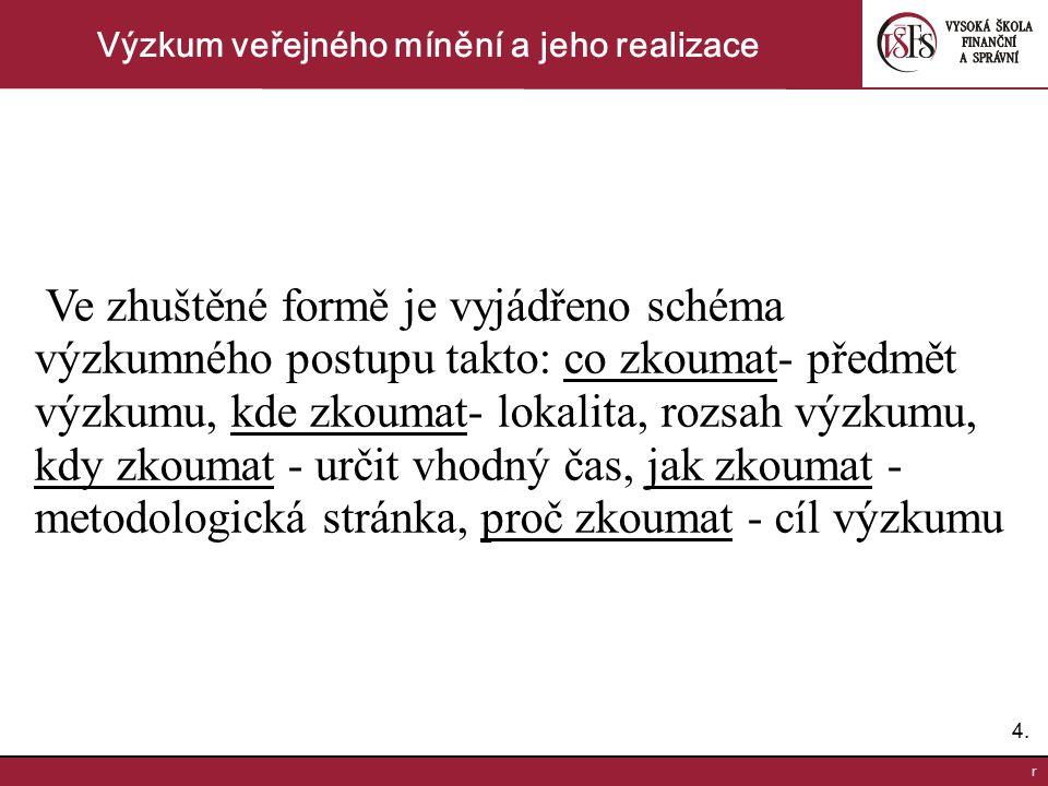 4.4. r Výzkum veřejného mínění a jeho realizace Ve zhuštěné formě je vyjádřeno schéma výzkumného postupu takto: co zkoumat- předmět výzkumu, kde zkoum