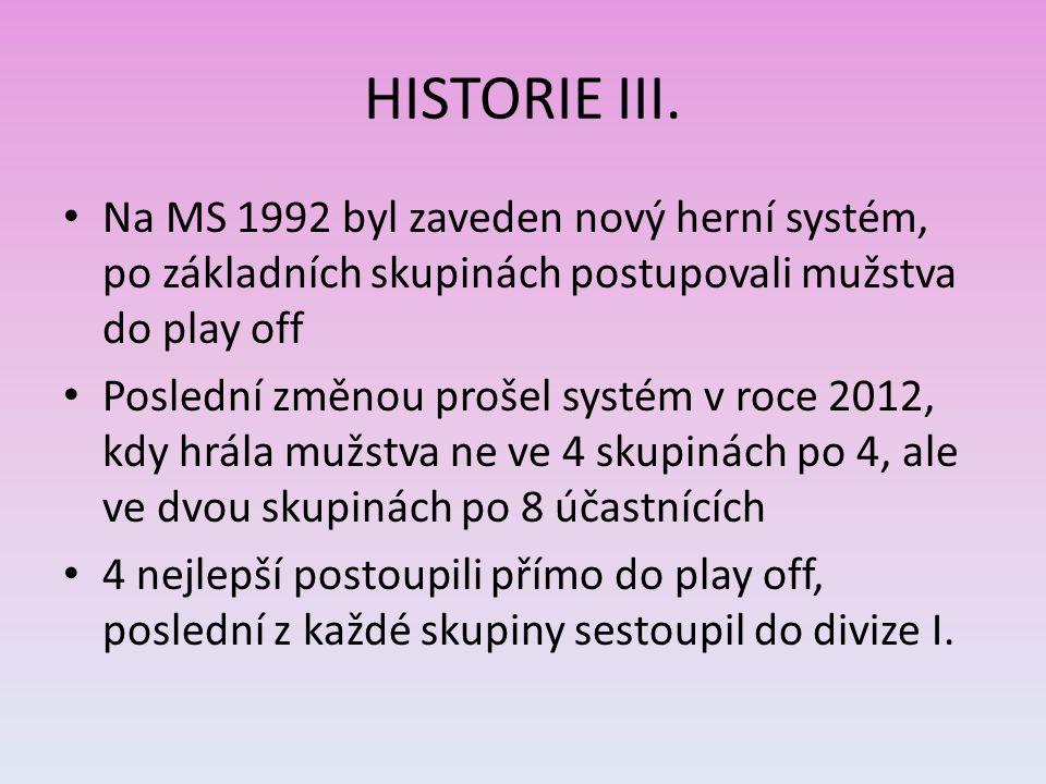 HISTORIE III. Na MS 1992 byl zaveden nový herní systém, po základních skupinách postupovali mužstva do play off Poslední změnou prošel systém v roce 2