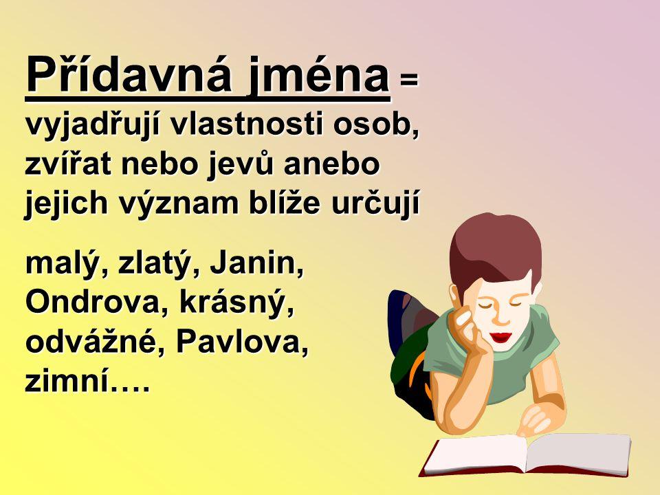 Přídavná jména = vyjadřují vlastnosti osob, zvířat nebo jevů anebo jejich význam blíže určují malý, zlatý, Janin, Ondrova, krásný, odvážné, Pavlova, z