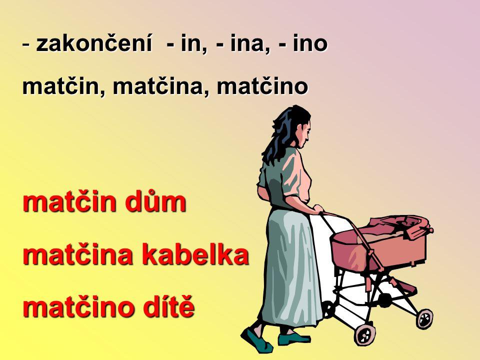 - zakončení - in, - ina, - ino matčin, matčina, matčino matčin dům matčina kabelka matčino dítě