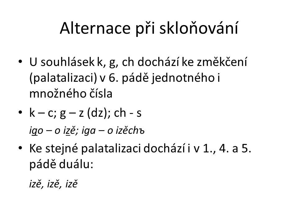Alternace při skloňování U souhlásek k, g, ch dochází ke změkčení (palatalizaci) v 6. pádě jednotného i množného čísla k – c; g – z (dz); ch - s igo –