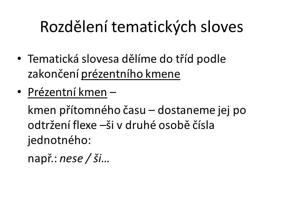 Třídy tematických sloves I.