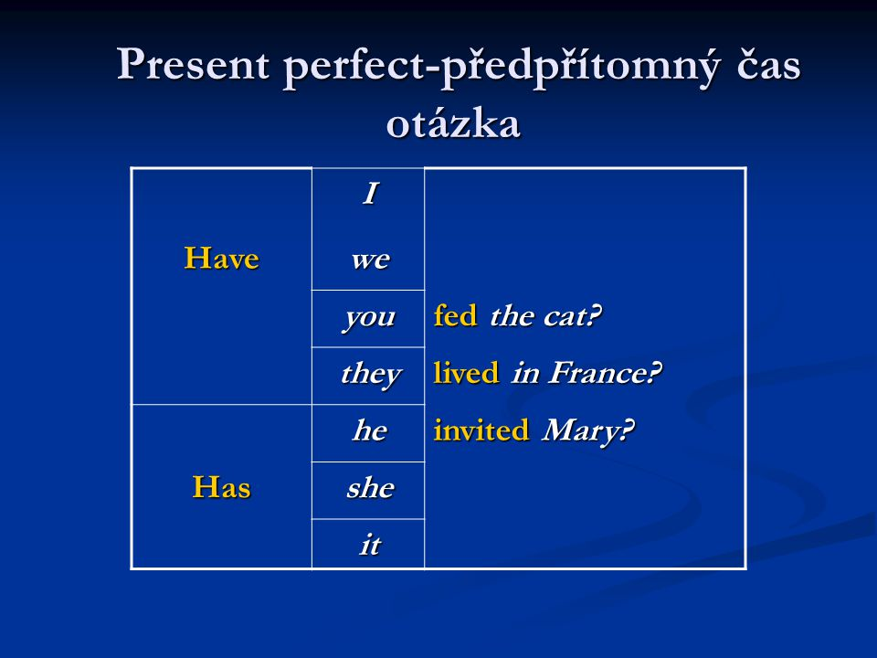 Present perfect-předpřítomný čas otázka Present perfect-předpřítomný čas otázkaI Have wewewewe you fed the cat? they lived in France? hehehehe invited