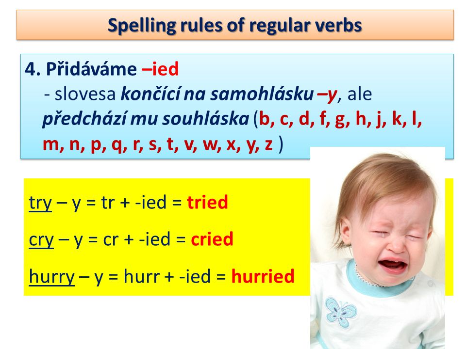 Spelling rules of regular verbs 4.