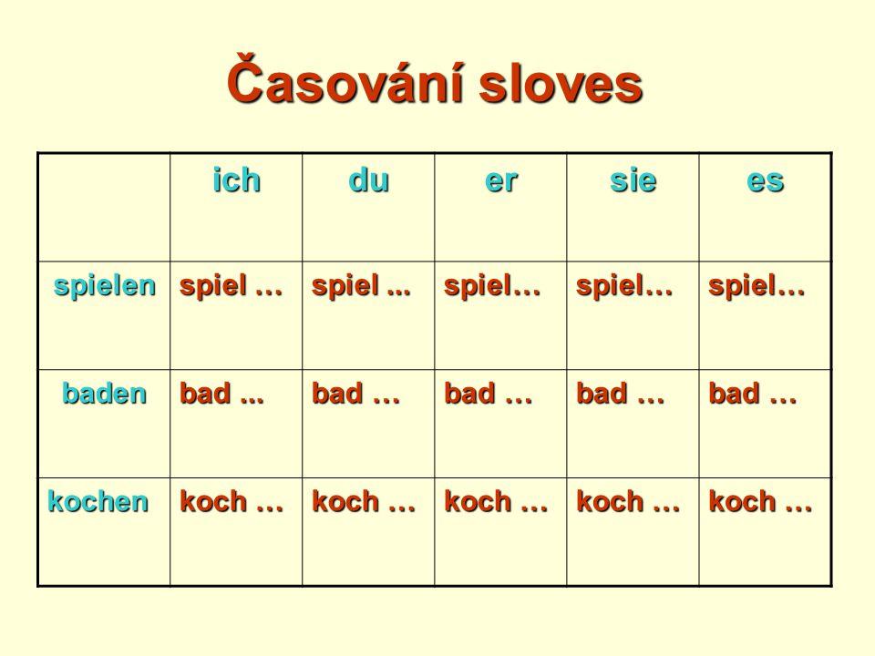 Časování sloves ichduersiees spielen spiel … spiel... spiel…spiel…spiel… baden bad... bad … kochen koch …