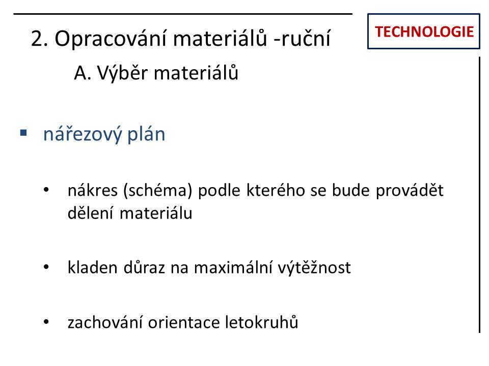 TECHNOLOGIE 2. Opracování materiálů -ruční A. Výběr materiálů  nářezový plán nákres (schéma) podle kterého se bude provádět dělení materiálu kladen d