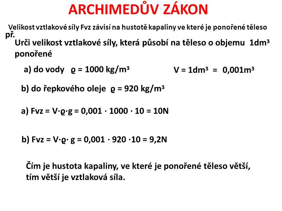 Velikost vztlakové síly Fvz závisí na hustotě kapaliny ve které je ponořené těleso př. Urči velikost vztlakové síly, která působí na těleso o objemu 1