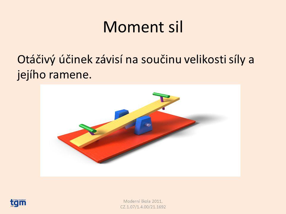 Páka trochu jinak Význam písmen: F 1 d 1 F 2 d 2 Moderní škola 2011, CZ.1.07/1.4.00/21.1692