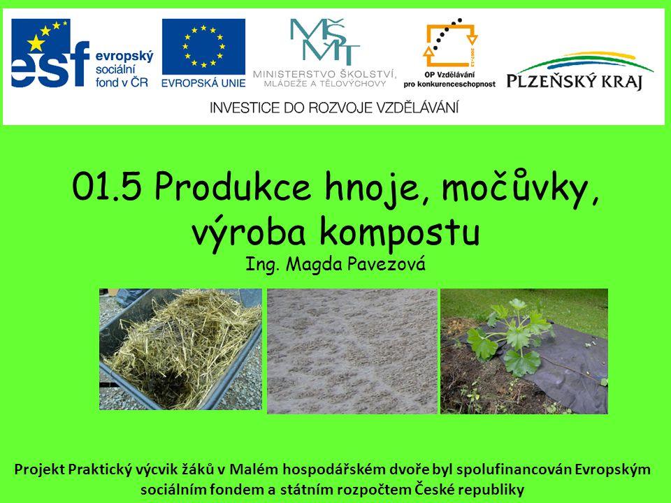 01.5 Produkce hnoje, močůvky, výroba kompostu Ing.