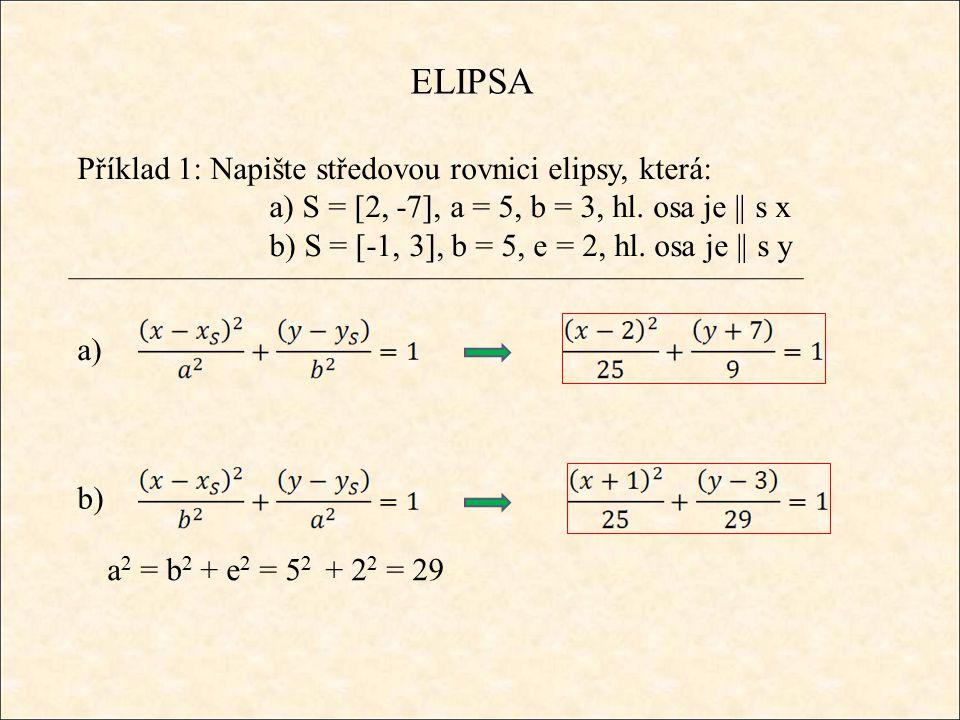 ELIPSA Příklad 1: Napište středovou rovnici elipsy, která: a) S = [2, -7], a = 5, b = 3, hl. osa je || s x b) S = [-1, 3], b = 5, e = 2, hl. osa je ||