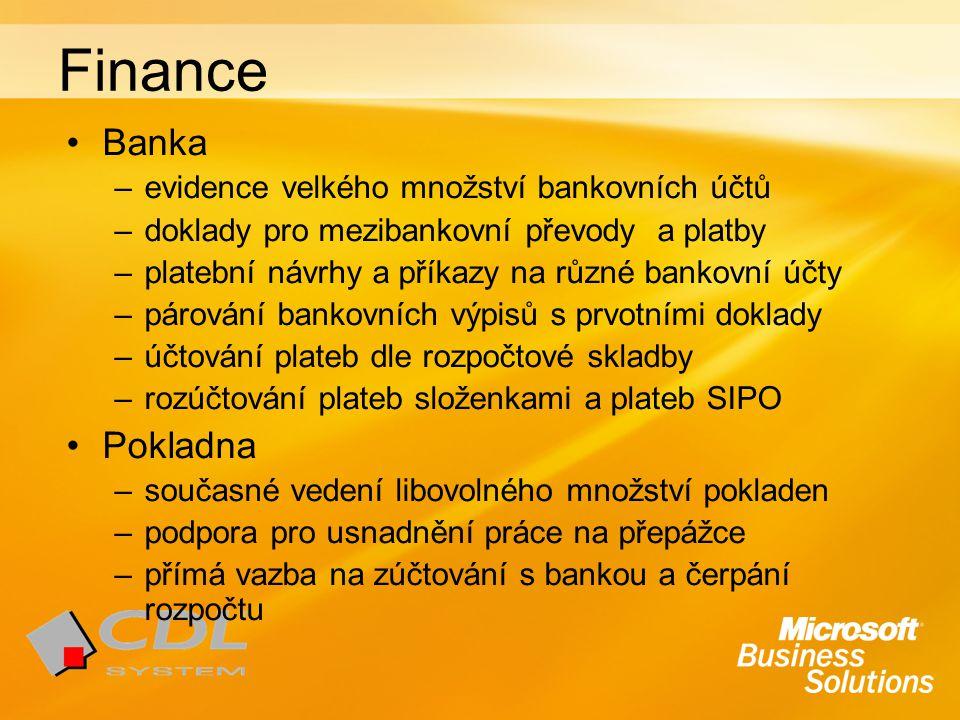 Finance Banka –evidence velkého množství bankovních účtů –doklady pro mezibankovní převody a platby –platební návrhy a příkazy na různé bankovní účty –párování bankovních výpisů s prvotními doklady –účtování plateb dle rozpočtové skladby –rozúčtování plateb složenkami a plateb SIPO Pokladna –současné vedení libovolného množství pokladen –podpora pro usnadnění práce na přepážce –přímá vazba na zúčtování s bankou a čerpání rozpočtu