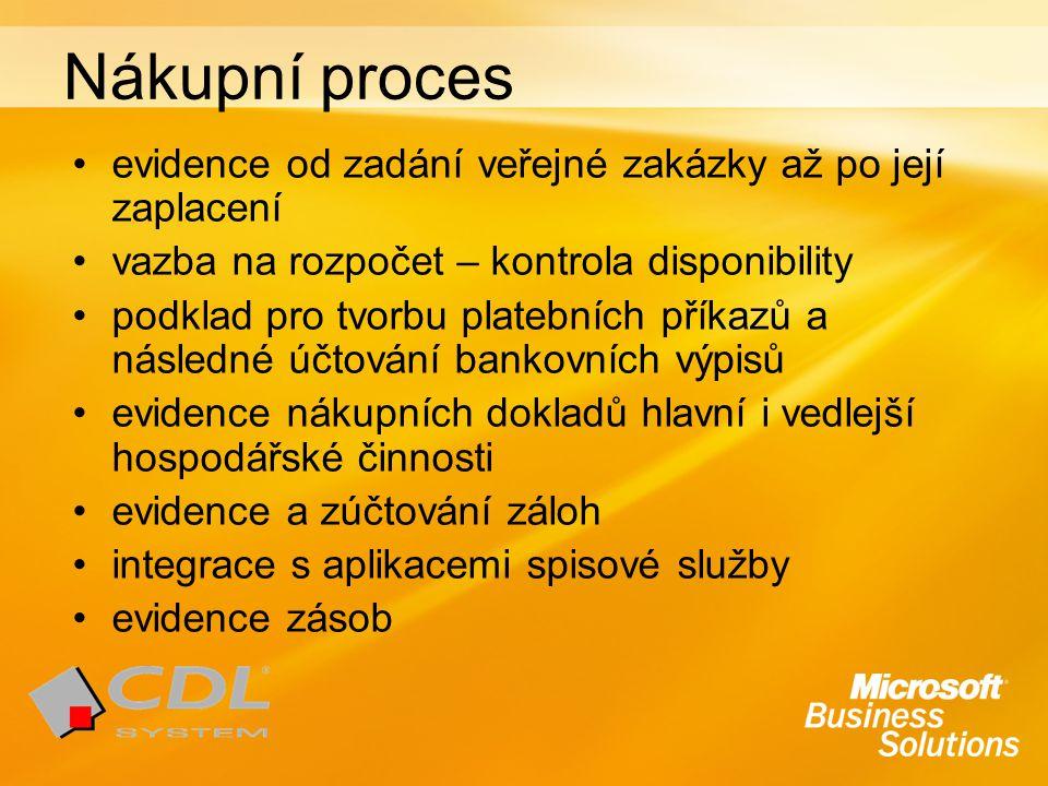 Nákupní proces evidence od zadání veřejné zakázky až po její zaplacení vazba na rozpočet – kontrola disponibility podklad pro tvorbu platebních příkazů a následné účtování bankovních výpisů evidence nákupních dokladů hlavní i vedlejší hospodářské činnosti evidence a zúčtování záloh integrace s aplikacemi spisové služby evidence zásob