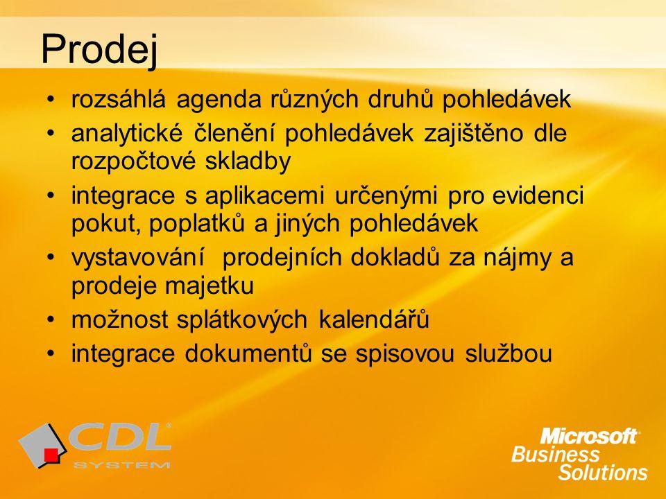 Prodej rozsáhlá agenda různých druhů pohledávek analytické členění pohledávek zajištěno dle rozpočtové skladby integrace s aplikacemi určenými pro evi
