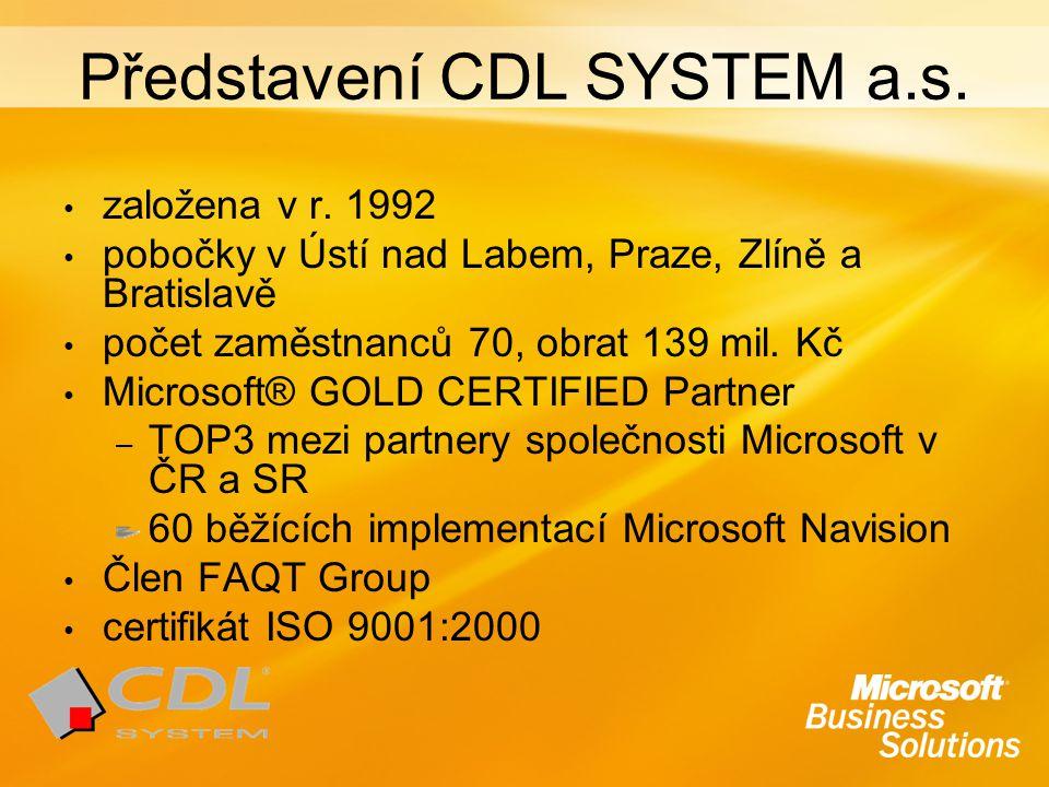 Představení CDL SYSTEM a.s. založena v r. 1992 pobočky v Ústí nad Labem, Praze, Zlíně a Bratislavě počet zaměstnanců 70, obrat 139 mil. Kč Microsoft®