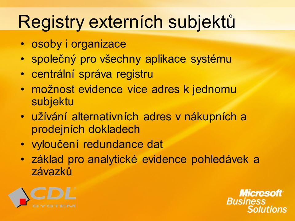 Registry externích subjektů osoby i organizace společný pro všechny aplikace systému centrální správa registru možnost evidence více adres k jednomu subjektu užívání alternativních adres v nákupních a prodejních dokladech vyloučení redundance dat základ pro analytické evidence pohledávek a závazků