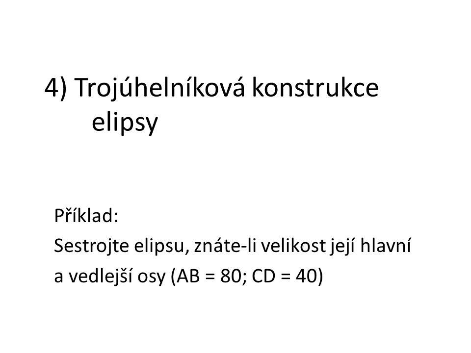 4) Trojúhelníková konstrukce elipsy Příklad: Sestrojte elipsu, znáte-li velikost její hlavní a vedlejší osy (AB = 80; CD = 40)